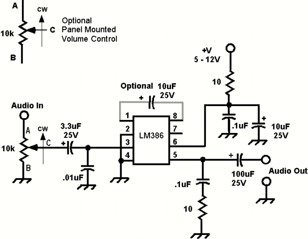 Mini Audio Amp Schematic